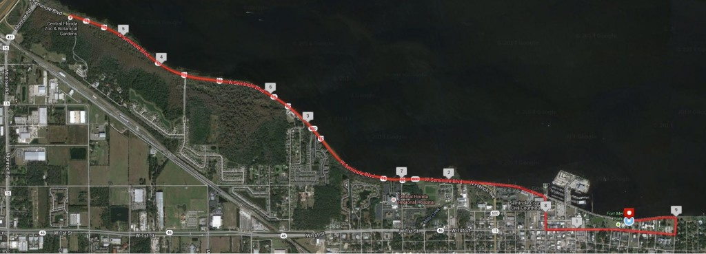 Riverside Dash 15k Route